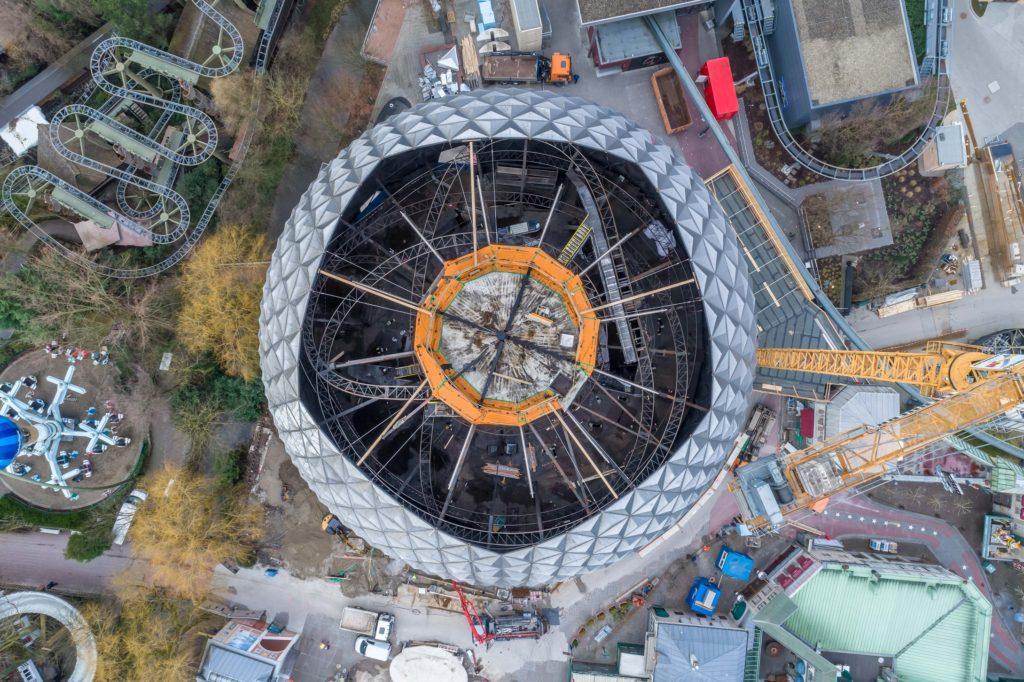 """Beeindruckende Perspektive: der Blick auf den künftigen """"Eurosat - CanCan Coaster"""""""