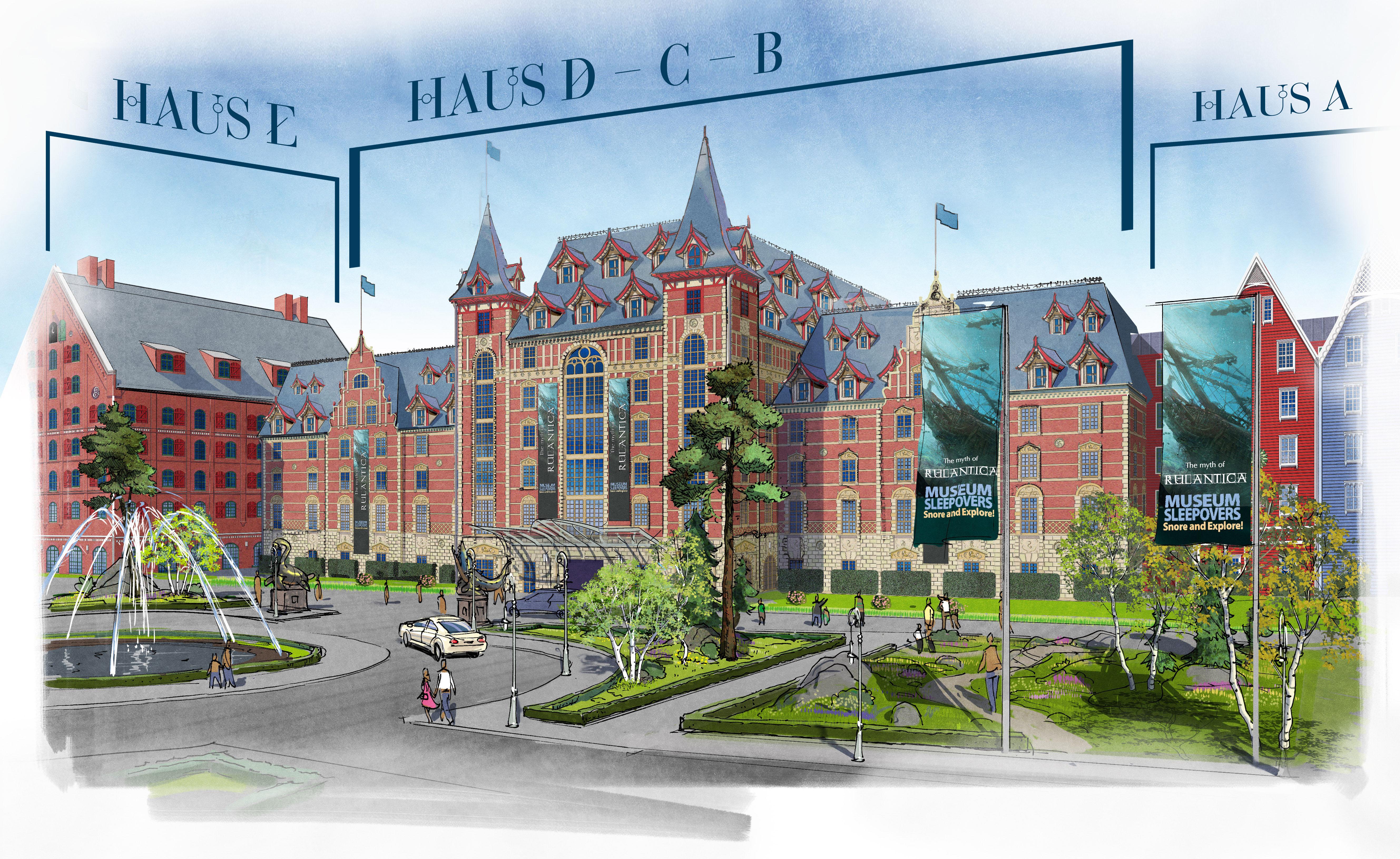 Die Illustration zeigt, welche Bereiche mit Backsteinen an der Hotel-Fassade verziert worden sind
