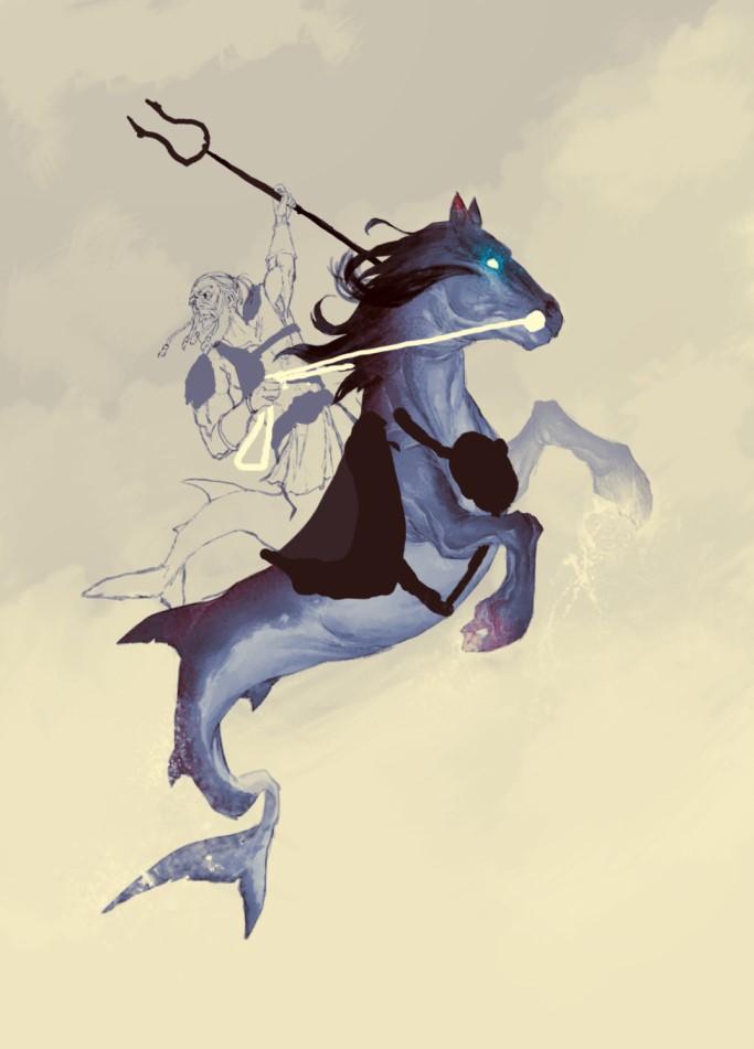 Illustrationen von Helge Vogt werden die Seiten des Romans zusätzlich schmücken. Hier sieht man einen Quellwächter, der auf einem Kelpie reitet.