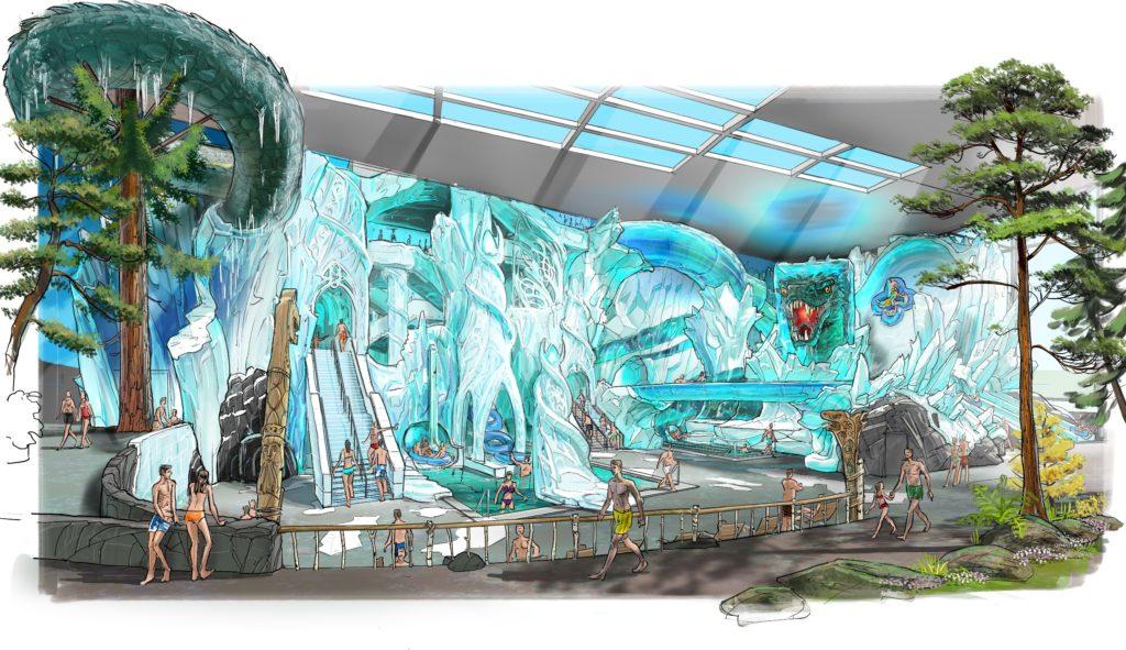 """Die Rutsche """"Vinter Rytt"""" trägt die Gäste durch die Eislandschaft von """"Vinterhal""""."""