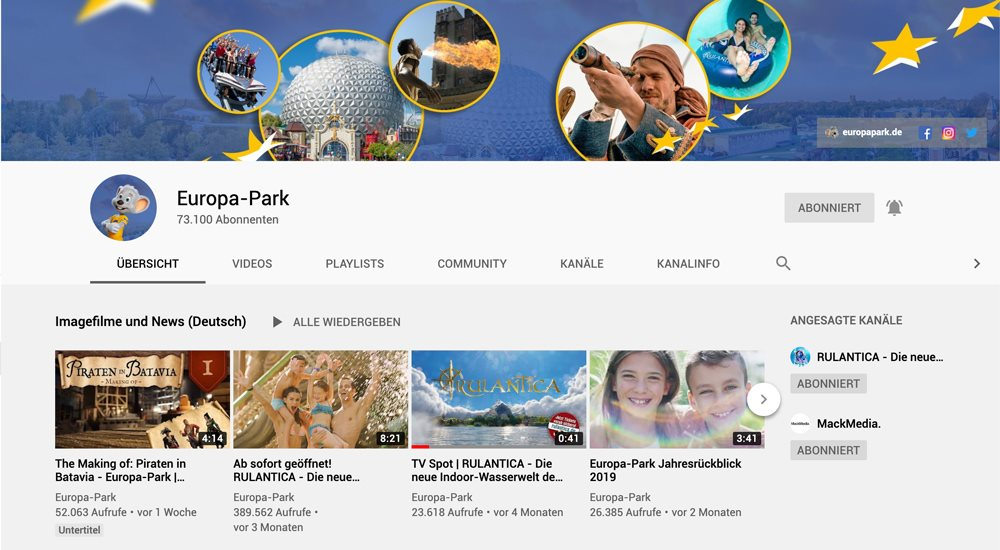 Europa-Park YouTube-Channel