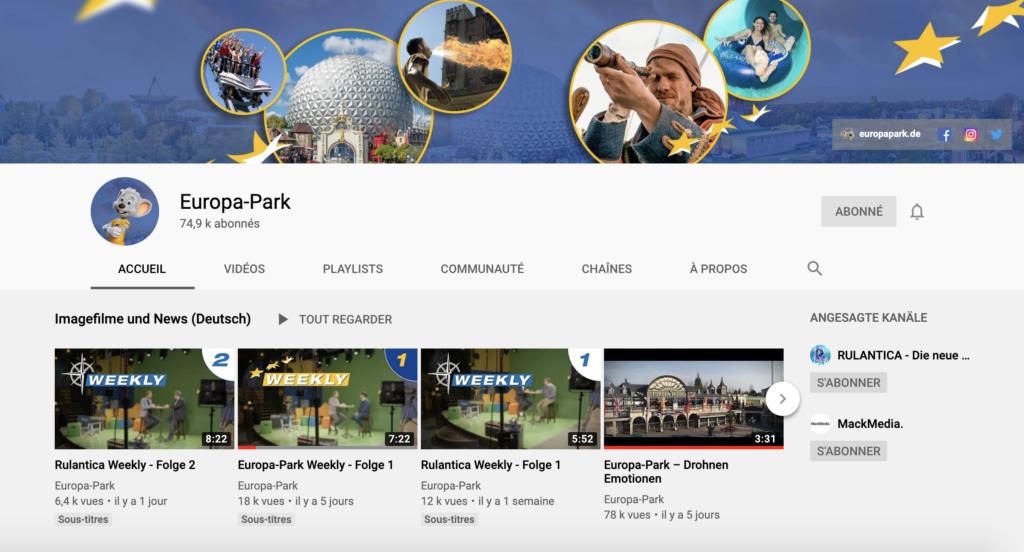Chaîne YouTube d'Europa-Park