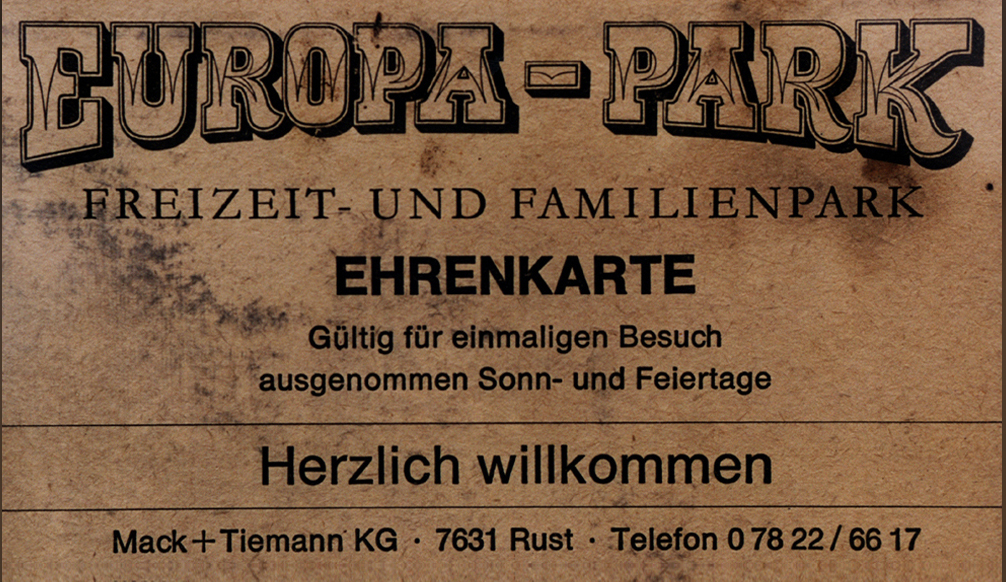 Le premier billet d'entrée d'Europa-Park !