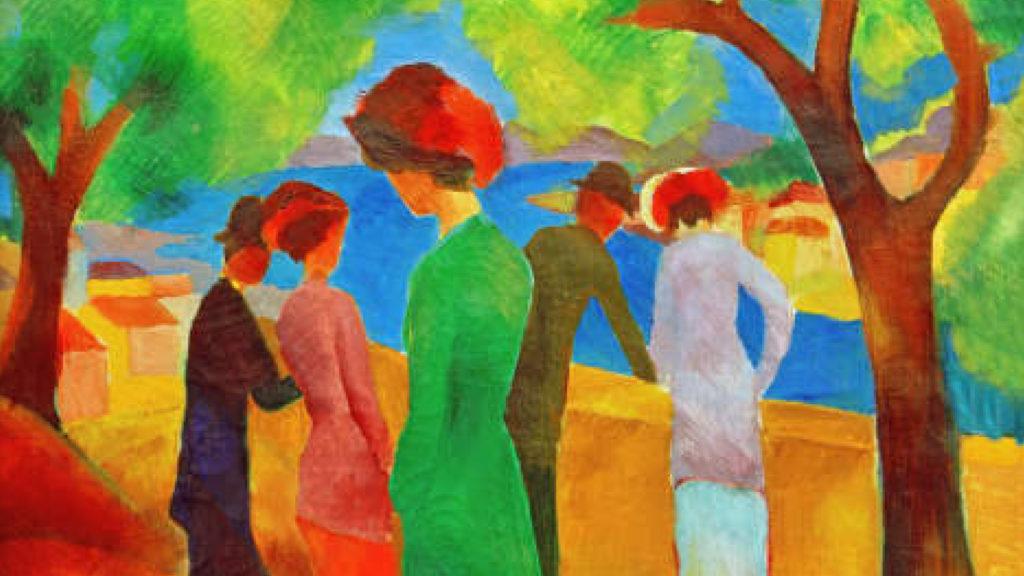 Original August Macke: Dame in grüner Jacke (1913)