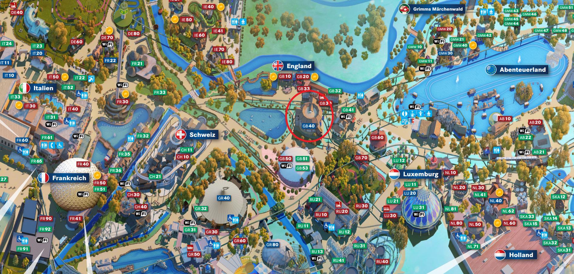 """Aktueller Parkplan des Europa-Park. Das """"Globe Theater"""" befindet sich im eingekreisten Bereich."""